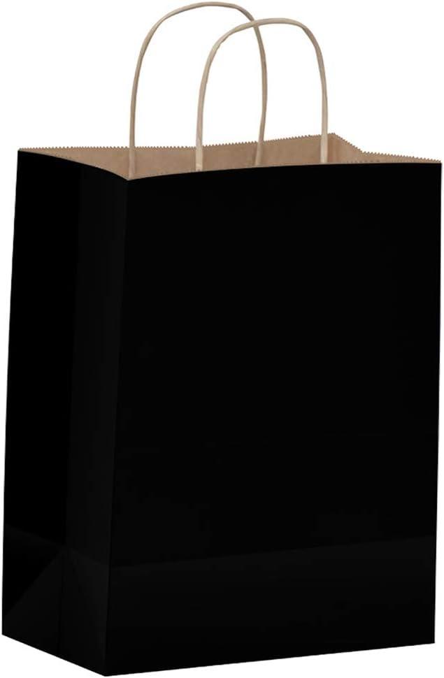 Amazon.com: Bolsas de papel negras con asas – 100 unidades 8 x 4.5 x 10.5 pulgadas bolsas de regalo a granel, bolsas de compras, bolsas de fiesta, bolsas de regalos, bolsas de golosinas, cachorro, bolsas de negocios, bolsas de papel Kraft, bolsas de comercio al por menor, bolsas de mercancía: Home & Kitchen