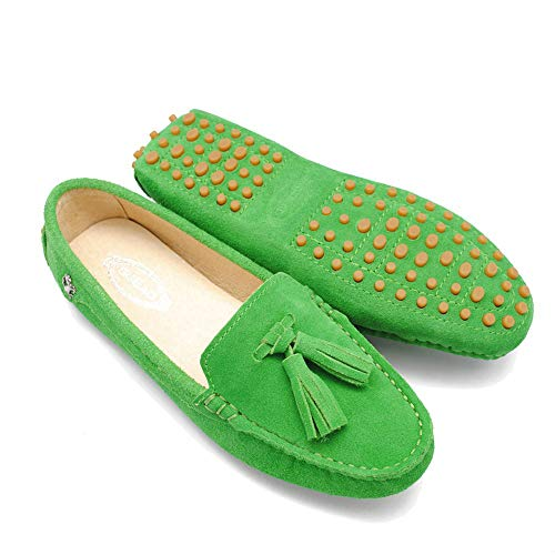 Lucky Exclusive Foldable Slip On Loafers Moccasins Driving & Walking Flats Cushioned Insole Shoes for Women Fruit-Green ()