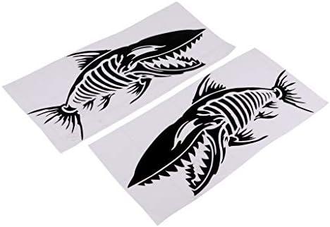 Tachiuwa ステッカー 防水 デカール 車 魚の骨形 自己接着ステッカー 耐久性 貼り付け 清潔 簡単 2個入り