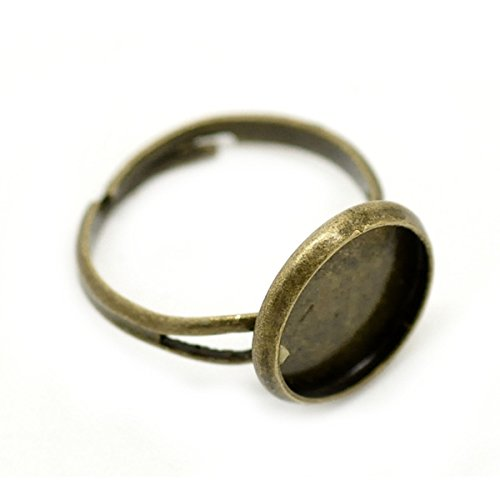 Price comparison product image HOUSWEETY 20PCs Bronze Tone Adjustable Round Cabochon Ring Settings 16.7mm US6.25(Fit 12mm)