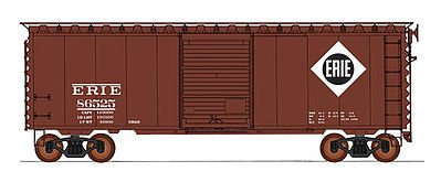 40' PS-1 Boxcar - Ready to Run -- Erie Lackawanna (Boxcar Red, white, black, Large Diamond Logo)