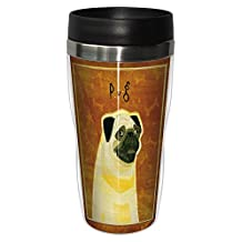 Tree-Free Greetings sg23991 Pug by John W. Golden 16-Ounce Sip 'N Go Stainless Steel Lined Travel Tumbler