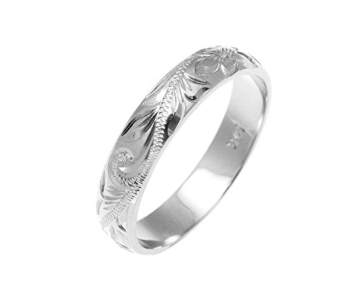 (Solid 14k white gold custom hand engraved Hawaiian plumeria scroll band ring 4mm size 5.5)