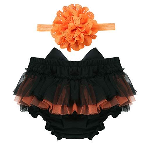 FEESHOW Infant Baby Girls Bow-Knot Tulle Ruffle Bloomers Shorts Diaper Cover with Flower Headband Set Photography Outfit Black&Orange 12-24 Months -