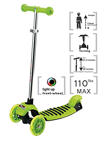 Voyage Sports Kick Scooter for Kids, 3 Wheel Adjustable Height, Lean 2 Turn,Kids Scooters for Boys and Girls