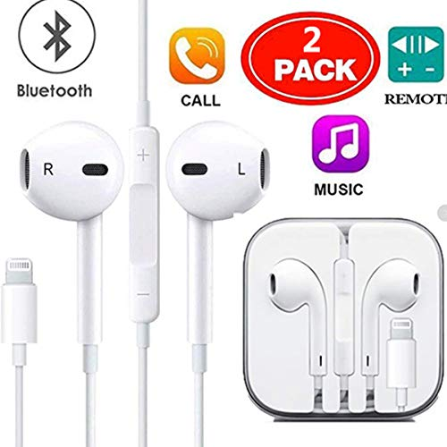 Earbuds, Microphone Earphones Stereo Headphones Noise Isolating Headset Compatible with iPhone Xs/XS Max/XR/X/8/8 Plus/7/7 Plus Earphones (2Pack)