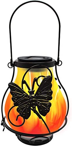 X-PREK Solar Flickering Flame Lights Metal Solar Lanterns Outdoor Hanging with Frosted Glass Lampshade Waterproof Landscape Decoration Lighting for Garden Pathway Patio Yard Tabletop Butterfly