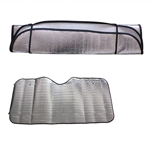 Transer Foldable Windshield Visor Sun Shade Sunshade Cover Car Front Window Snow and Ice Protector with Magnetic Suctions (silver) by Transer (Image #2)