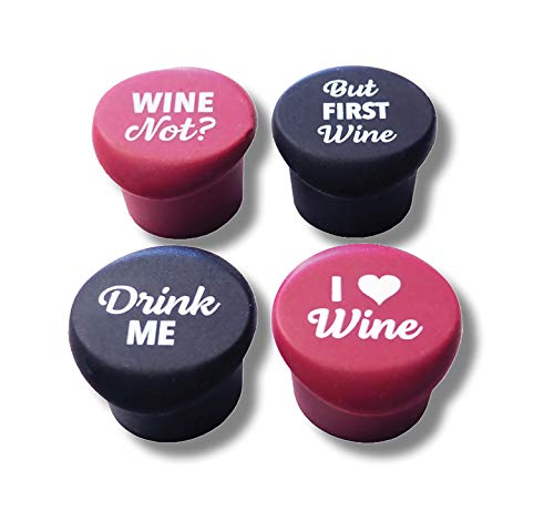 4 Fun Wine Bottle Stoppers in Box + Free Wine Gift Bag - With Funny Sayings Quotes - Reusable Caps - Perfect Gift for Wine Lovers - Food Grade Silicone - BPA-Free - from SipCovers