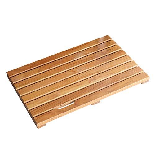 Facilehome Teak Bath Mat Non Slip Luxury Spa Solid Teak Bath Mat Shower Mat Indoor/Outdoor Shower Mat Large Floor Mat 23.6
