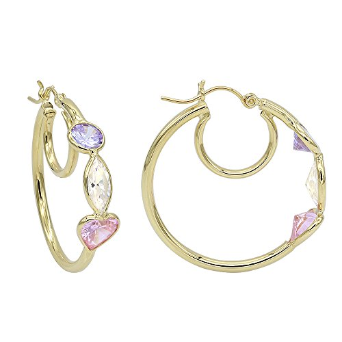 Aleksa 14k Yellow Gold Three-stones Heart, Round and Marquise shapes CZ White, Pink,Purple Hoops Earrings