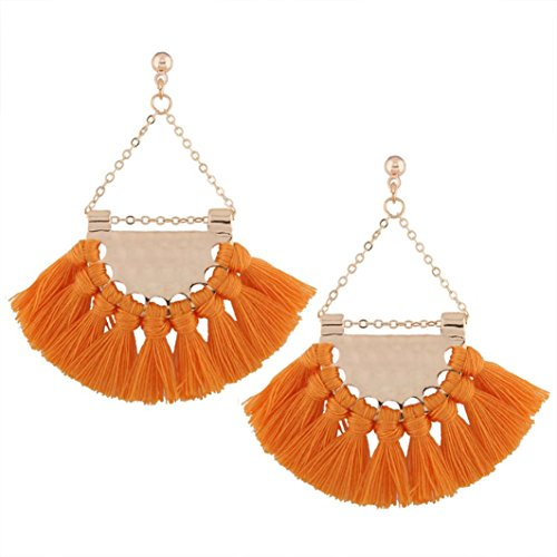 Iuhan Bohemian Fan-Shaped Dangling Drop Earrings Women Short Knot Tassel Fringe Earrings Stud (Yellow) ()