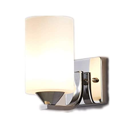 bokt modern minimalist 1 light wall sconces milk glass chrome rh amazon com