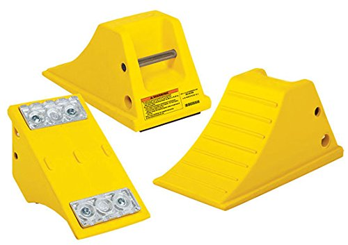 Polyurethane Wheel Chock - AT3512 Series; Base: Aluminum Cleat Flat Bottom; Length: 15.5''; Width: 8.5''; Height: 8.25''; Gross Vehicle Operating Weight (LBS): 80,000; Color: Yellow