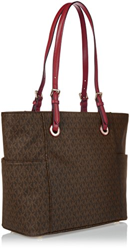 7566a8be7b48 Michael Kors Jet Set Travel Small Logo Tote (Brown/Mulberry) by Michael Kors