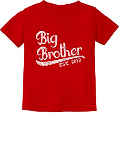 - TeeStars - Gift for Big Brother 2018 Toddler/Infant Kids T-Shirt 5/6 Red