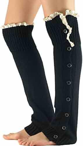 7f316b14aa091 Zando Women's Knitted Lace Boot Cuffs Thigh High Socks Crochet Long Leg  Warmers