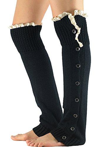Zando Womens Girl Soft Fashion Lace Knee High Knitted Crochet Button Leg Warmers Black
