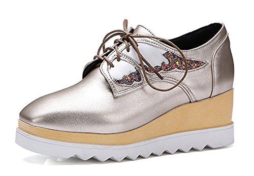 Aisun Damesmode Vierkante Teen Plateau Medium Hakken Lace-up Wedge Sneakers Goud