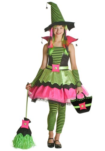 Lime Striped Witch Costumes (Princess Paradise Child Spiderina Costume, Multicolor, XX-Large (14))