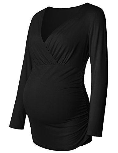 Bhome Women's Maternity Long Sleeve Crossover Wrapped V-Neck Breastfeeding Top, Black, X-Large ()