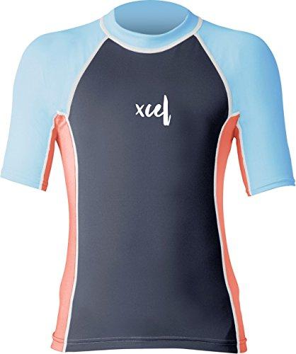 Xcel Laguna S/UV Parte Superior para niñas, Color plomizo/Coral/algodón de azúcar, 6
