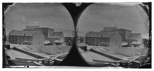 Photo  Haxall   Crenshaws Flour Mill Canal Lock Boats Fallen Richmond Virginia Va 1865