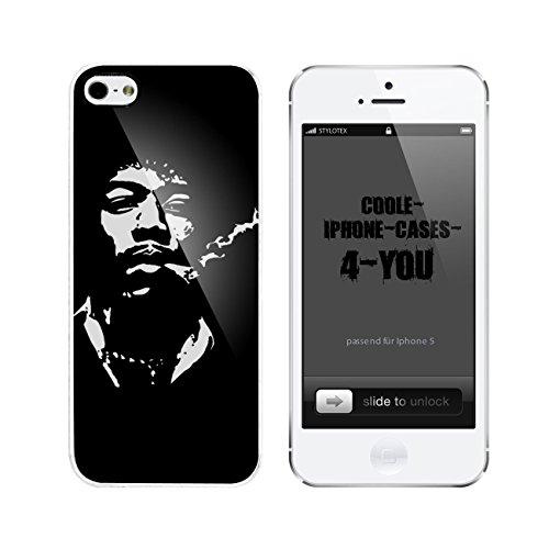 Iphone 5 / 5S Schutzhülle Hippie Smoker - weisser Rahmen