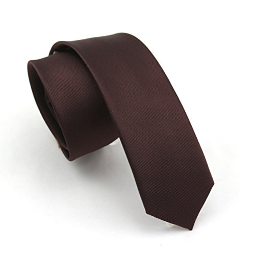 Brown Silk Tie - Elviros Mens Eco-friendly Fashion Solid Color Slim Tie 2.4'' (6cm) Dark