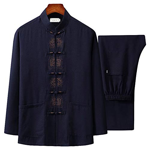 ZooBoo Tai Chi Uniform Shirt - Qi Gong Martial Arts Wing Chun Shaolin Kung Fu Shirt Training Cloths Apparel Clothing (L, Navy Blue)