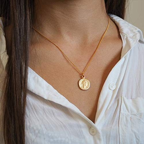 Handcrafted Gold Roman Coin Pendant Necklace, 24K Gold Plated Chain 18