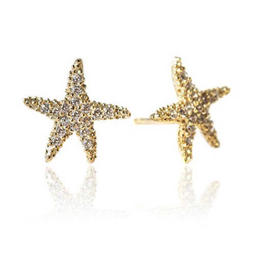 Nautical Starfish Earrings, CZ Crystal Studs in 14K Gold or Sterling (14k Gold Starfish Earrings)