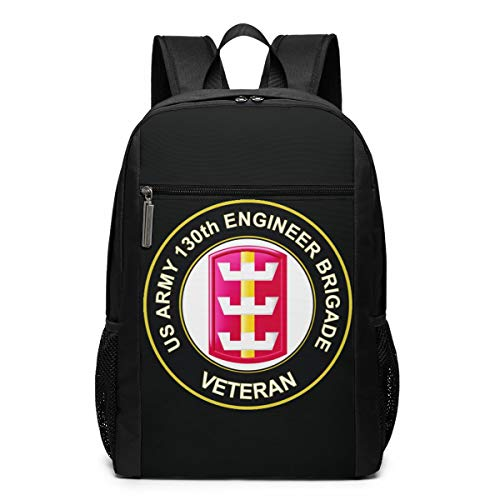 US Army 130th Engineer Brigade Veteran 17 Inch School Bags Backpack College Book Bags Laptop Backpack With Large Compartment Backpack For Men Women Teens ()