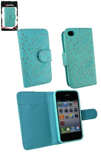 Emartbuy® Apple Iphone 4 4G 4Gs Diamante Wallet Case / Étui / Housse / Bleu Pouch Avec Des Logements Pour Carte De Crédit Et Protecteur D'Écran Lcd
