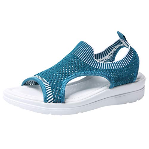 Slip On Walking Shoes,ONLY TOP Women's Mesh Breathable Sandals Lace-Up Running Open Toe Sneakers Dark Blue