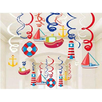 30Ct Nautical Hanging Swirl Decorations, Ahoy Boy Birthday Ceiling Streamers, Baby Shower Theme, Sailor Party Supplies, Cruise Kids Favors, Anchor Sailboat Yacht 1st First Bday Decor Kristin Paradise