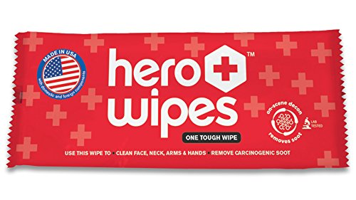Hero Wipes On Scene Decon Body Wipes for Firefighters – 250 Individually Wrapped Wipes - Removes 98% of Carcinogens - All Natural Alcohol Free Formula - Removes Soot, Smoke and Toxins - Made in by Hero Wipes