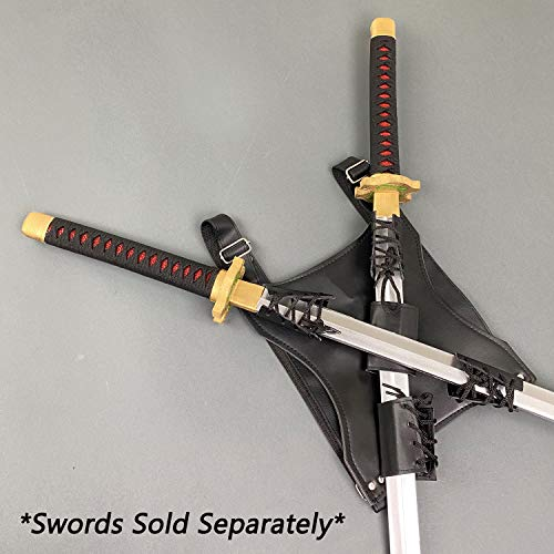 "PS 9 1/2"" x 10"" Black Back Carry Sword Frog for Twin Ninja Swords Back Harness"