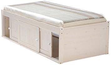 weber industries 226013 lit estrade avec 3 portes blanc 194 x 99 x 56 cm - Lit Estrade