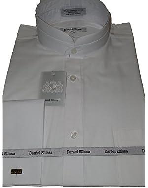 Mens White Victorian Tall Collar Nehru French Cuff Shirt DS3002C