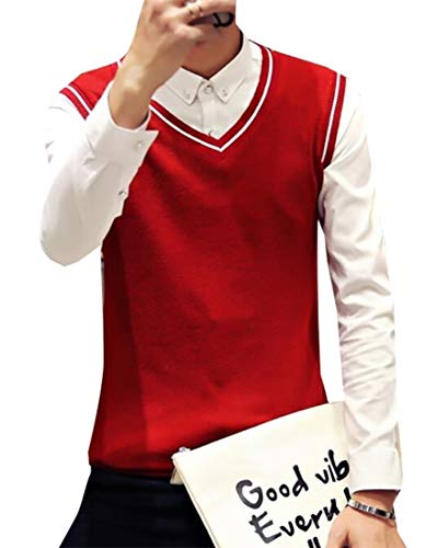 - WSPLYSPJY Mens Basic Classic Plain Knitted V-Neck Pullover Sweaters Vest Wine Red XL
