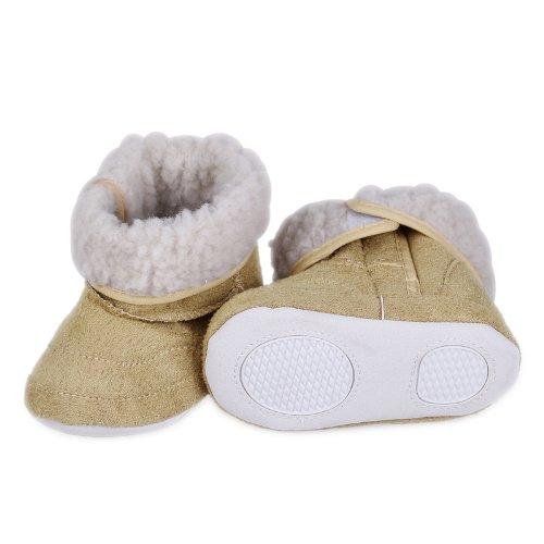 Eozy 1 Paar Weich Warm Hoch Qualität Hellblau Babyshuhe Lammfellschuhe Winter für 6-24 Monaten Alter Babys(Für die Größe sehen Sie bitte die Proguktbechreibung), DJF2 Beige, M 6-9 Monaten Baby