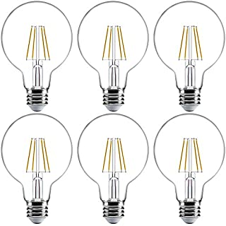 Sunco Lighting 6 Pack G25 LED Bulb, Dimmable, 5.5W=60W, 6000K Daylight Deluxe, Vintage Edison Filament Globe, 500 LM, E26 Base, Indoor/Outdoor Lights - UL