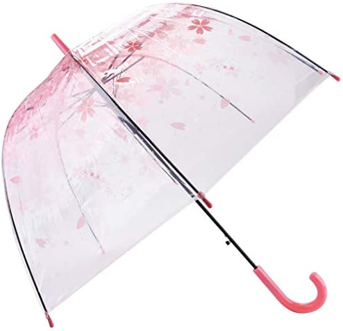 Outgeek Transparent Umbrella, Clear Bubble Cherry Umbrella Fashion Long Stick PVC Dome Sakura Umbrella for Women Kids Wedding