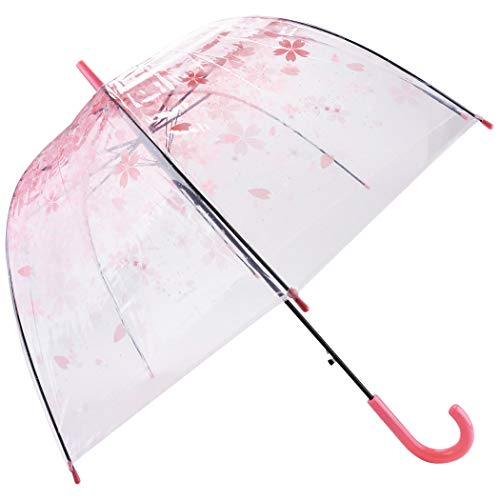 Outgeek Transparent Umbrella, Clear Bubble Cherry Umbrella Fashion Long Stick PVC Dome Sakura Umbrella for Women Kids - Fiber Bubble Clear