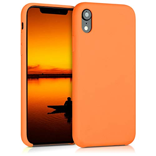 - kwmobile TPU Silicone Case for Apple iPhone XR - Soft Flexible Rubber Protective Cover - Cosmic Orange