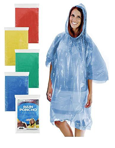 Wealers Emergency Disposable Rain Poncho - 5 Color Assortmen