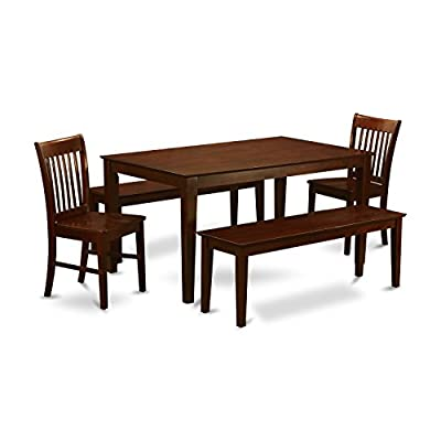 East West Furniture CANO5C-MAH-W 5 PC Kitchen Table Set-Dinette Table and 4 Kitchen Chairs - This 5 piece Capri rectangular dining set includes one table size 36in x 60in and 2 Norfolk wood seat chairs plus two 51 in long bench with wood seat. High grade kitchen dining set that made from all Asian Hardwood. Certainly no MDF, veneer, laminate employed our products. Kitchen dining chairs having incredibly relaxing slatted back compliment small dining table - kitchen-dining-room-furniture, kitchen-dining-room, dining-sets - 41cz9K%2BnGfL. SS400  -