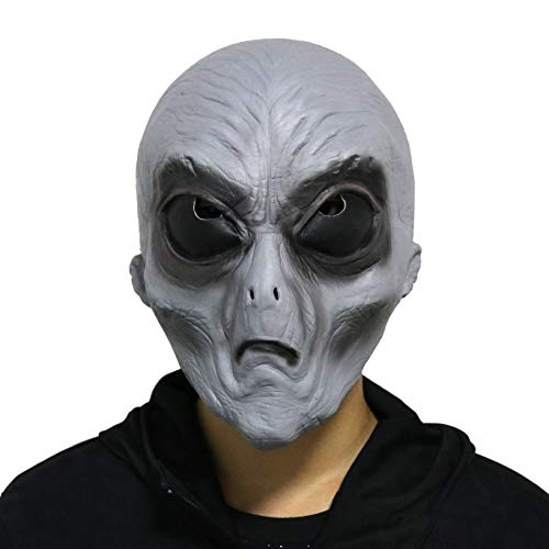 FantasyParty Halloween Novelty Mask Costume Party Latex Alien Head Mask UFO mask(Grey) ()