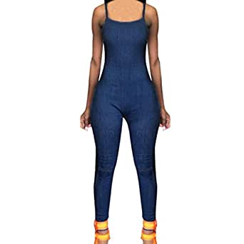 dcb0b7b50cb Amazon.com  Minisoya Women Backless Sling Playsuit Overalls Romper ...